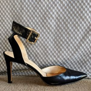 "Black Nine West ""Callen"" Ankle Strap Pumps"